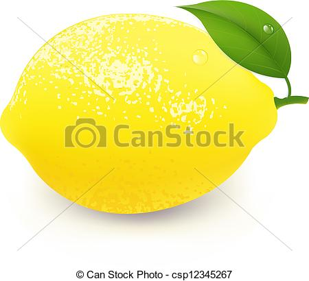 Clip Art Vector of Yellow Lemon With Leaf, With Gradient Mesh.