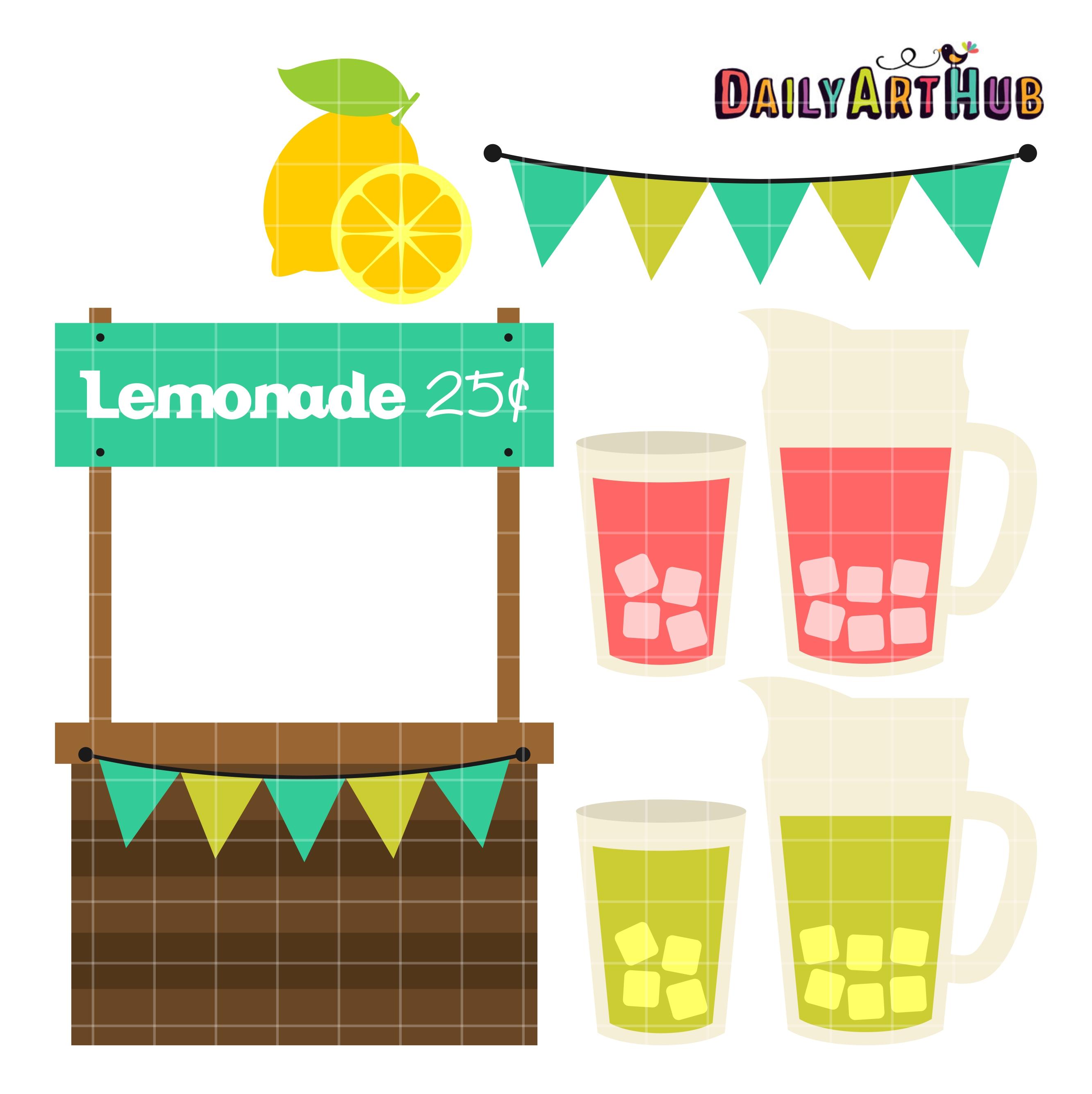 Lemonade Stand Clip Art Set.