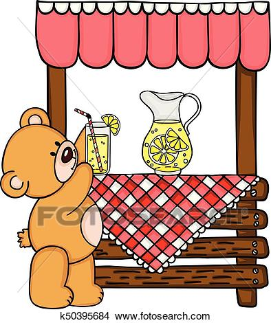 Teddy bear and wooden lemonade stand Clipart.