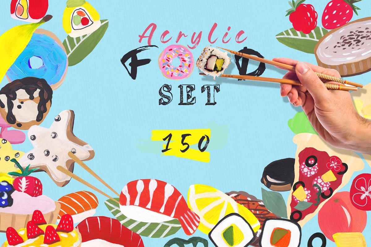 Acrylic food set.