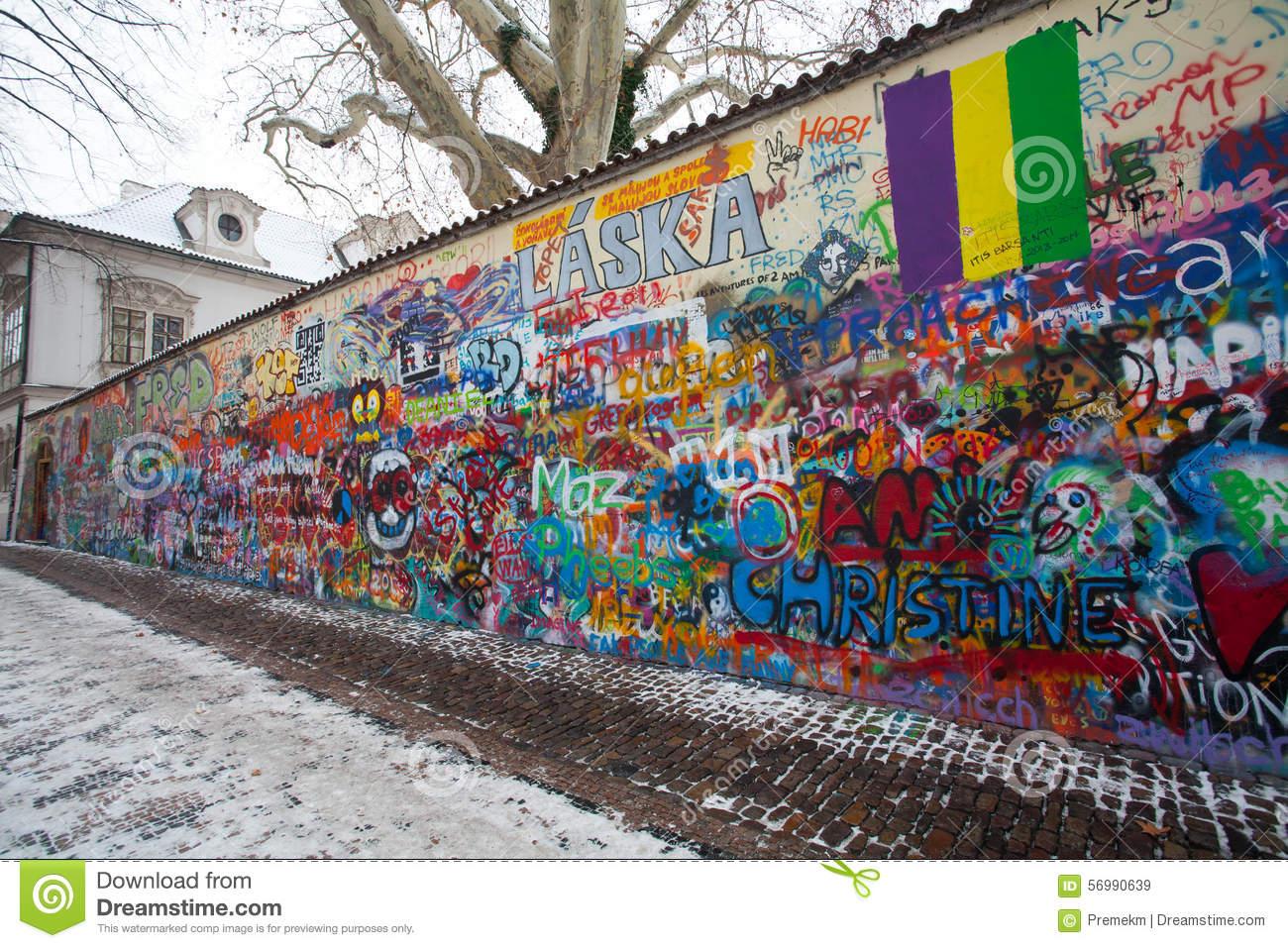 John Lennon Wall, Czech Republic, Prague Editorial Stock Image.