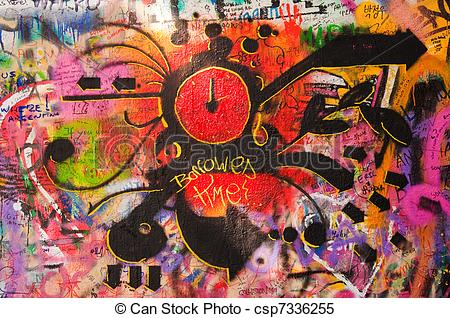 Stock Images of Lennon wall in Prague.