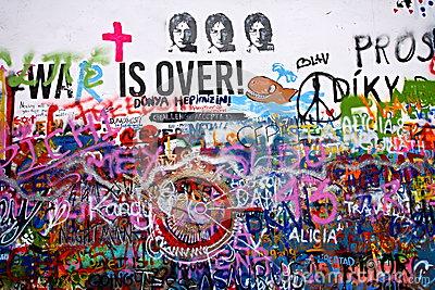 John Lennon Wall In Prague Editorial Photo.