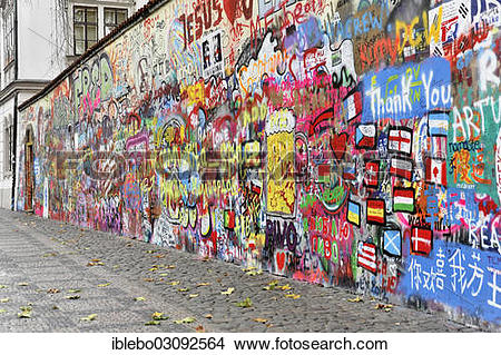 "Stock Photo of ""John Lennon wall, graffiti, Prague, Czech Republic."