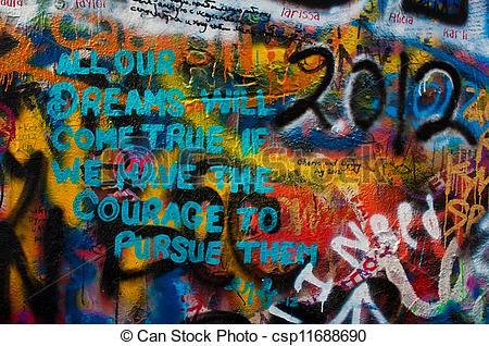 Stock Photographs of Lennon wall in Prague.