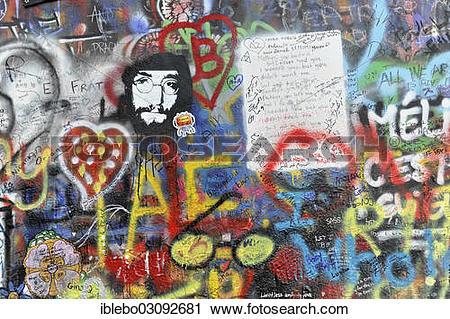 "Stock Photography of ""John Lennon wall, graffiti, Prague, Czech."