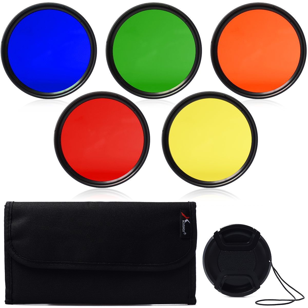 58mm Blue Yellow Orange Red Green Color filter + Lens Cap for.