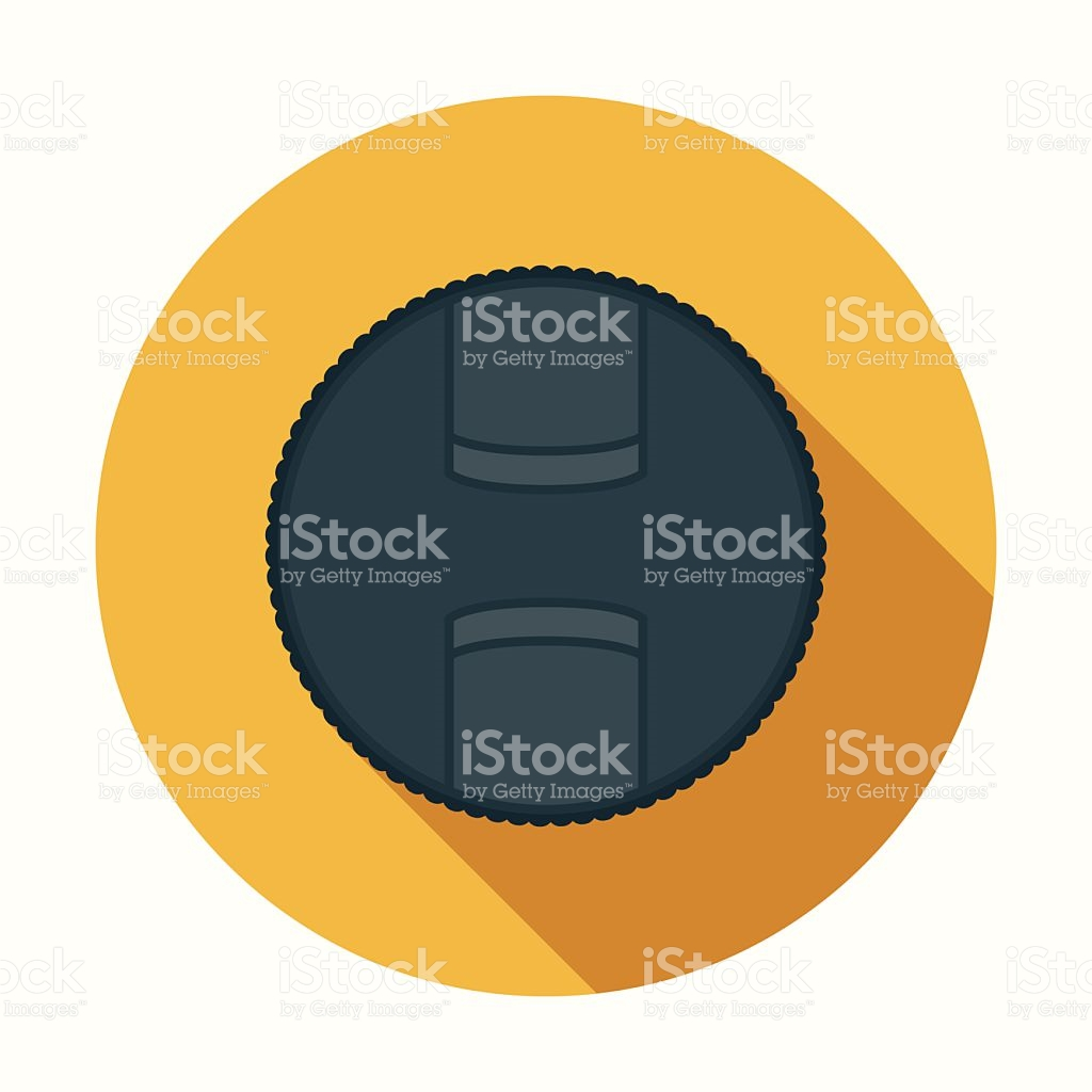 Flat Design Lens Cap Icon With Long Shadow stock vector art.