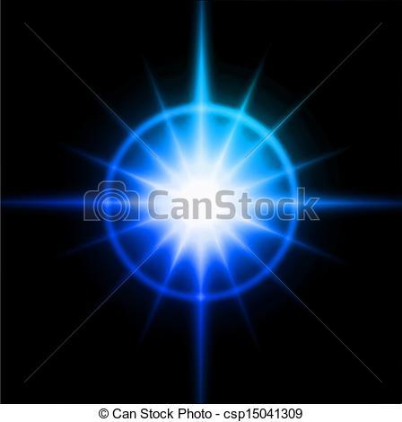 Vector Clipart of Blue luminous star. Lens flare effect. Vector.