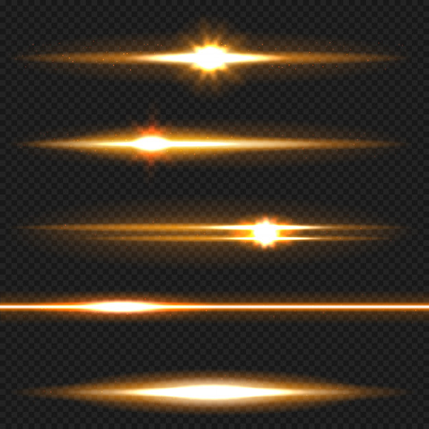 Orange horizontal lens flares pack. laser beams, horizontal.
