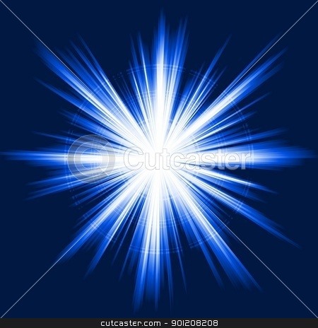 Blue light, star burst, abstract lens flare, fireworks stock vector.
