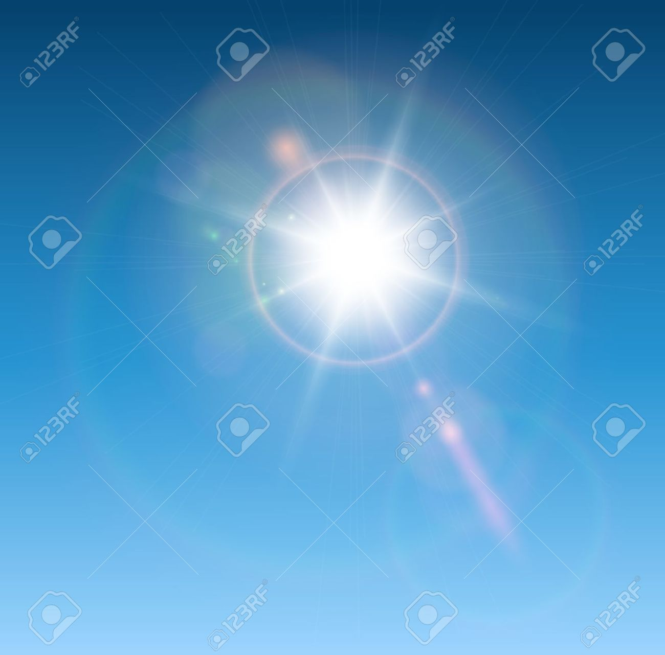 Sun With Lens Flare, Vector Background. Royalty Free Cliparts.