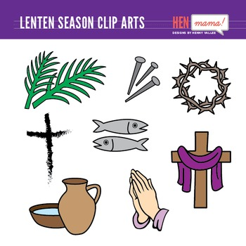 Lenten Season Clip Art Set.