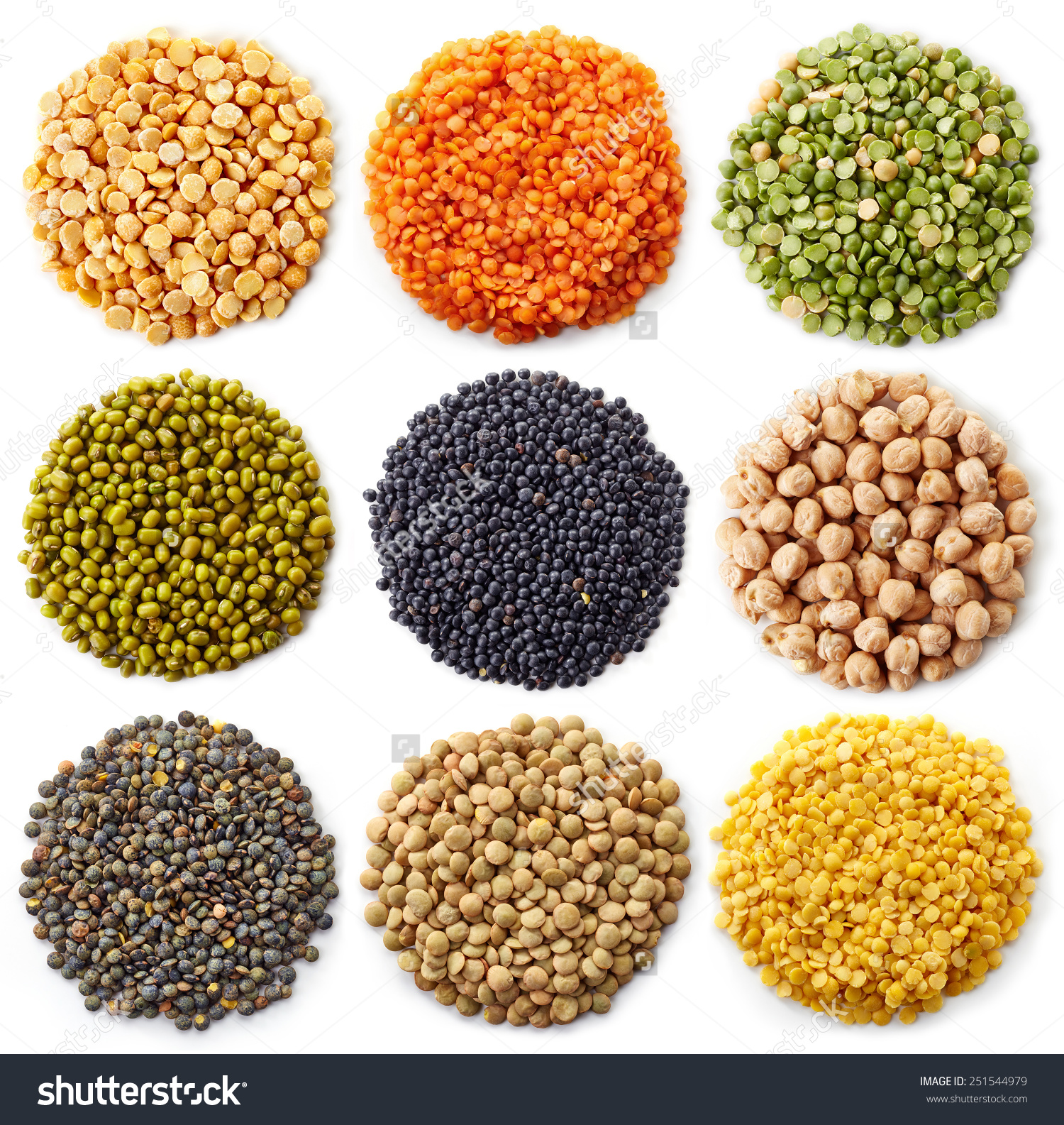 Collection Legumes Chickpeas Green Peas Red Stock Photo 251544979.