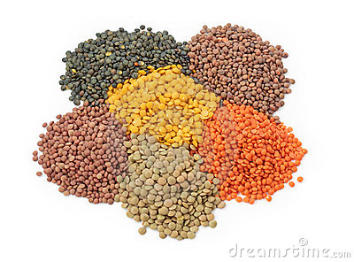 Group Of Lentils Royalty Free Stock Photo.