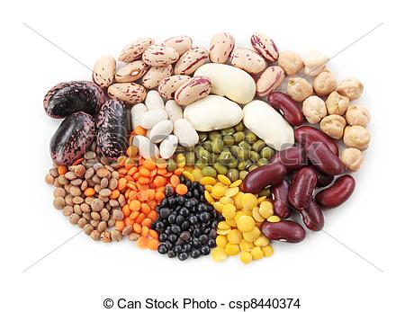 Stock Photo of Group of beans and lentils isolated on white.