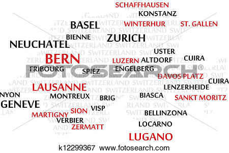 Clip Art of SWITZERLAND Word Cloud map k12299367.