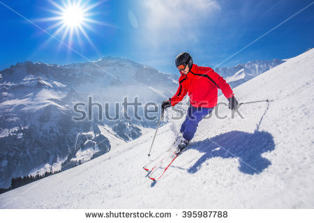 Young Man Skiing Stock Photos, Royalty.
