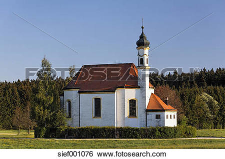 Stock Images of Germany, Upper Bavaria, Dietramszell, View of st.