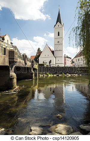 Stock Photography of River Amper and Church St. Leonhard.