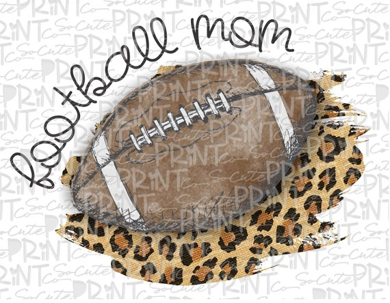 Football mom clipart, football mama leopard, transparent PNG.