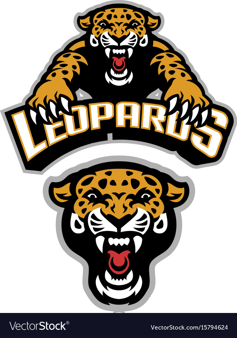 Leopard mascot set.
