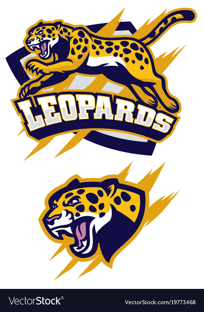 Jumping leopard mascot.
