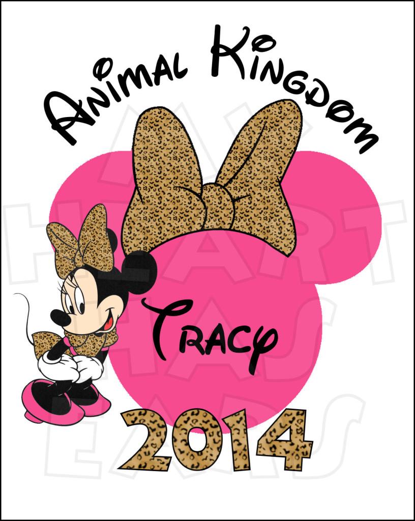 Animal Kingdom PERSONALIZED Leopard Minnie Mouse digital clip art.