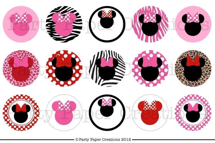 Minnie Mouse Digital Bottlecap Collage Sheet.