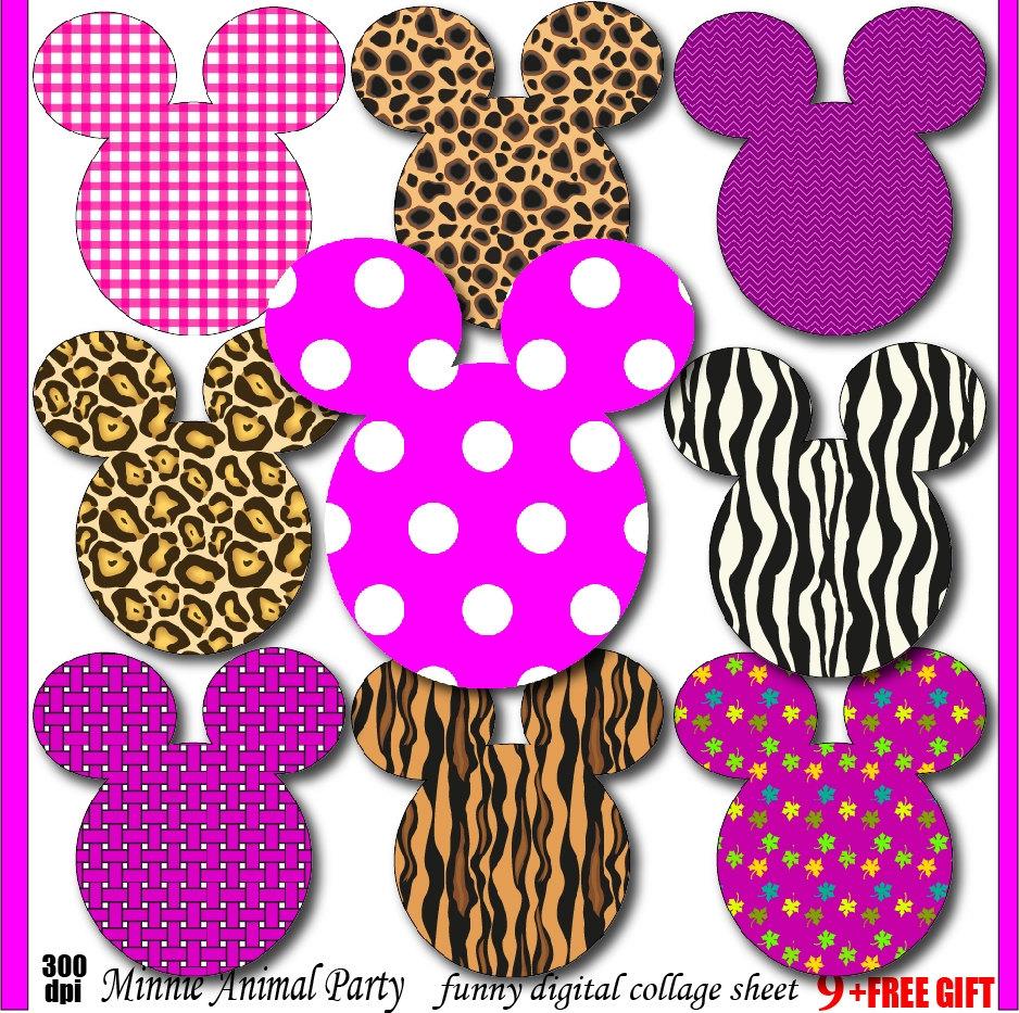 Minnie clipart animal print Minnie mouse birthday invitation party.