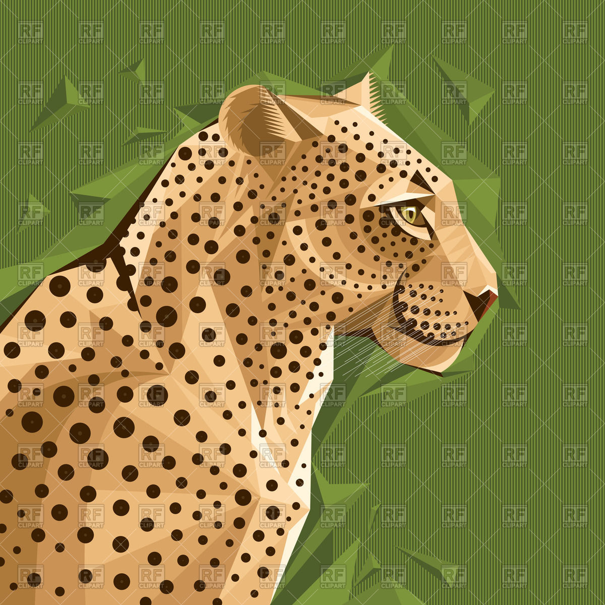 Portrait of leopard on abstract green background Vector Image.