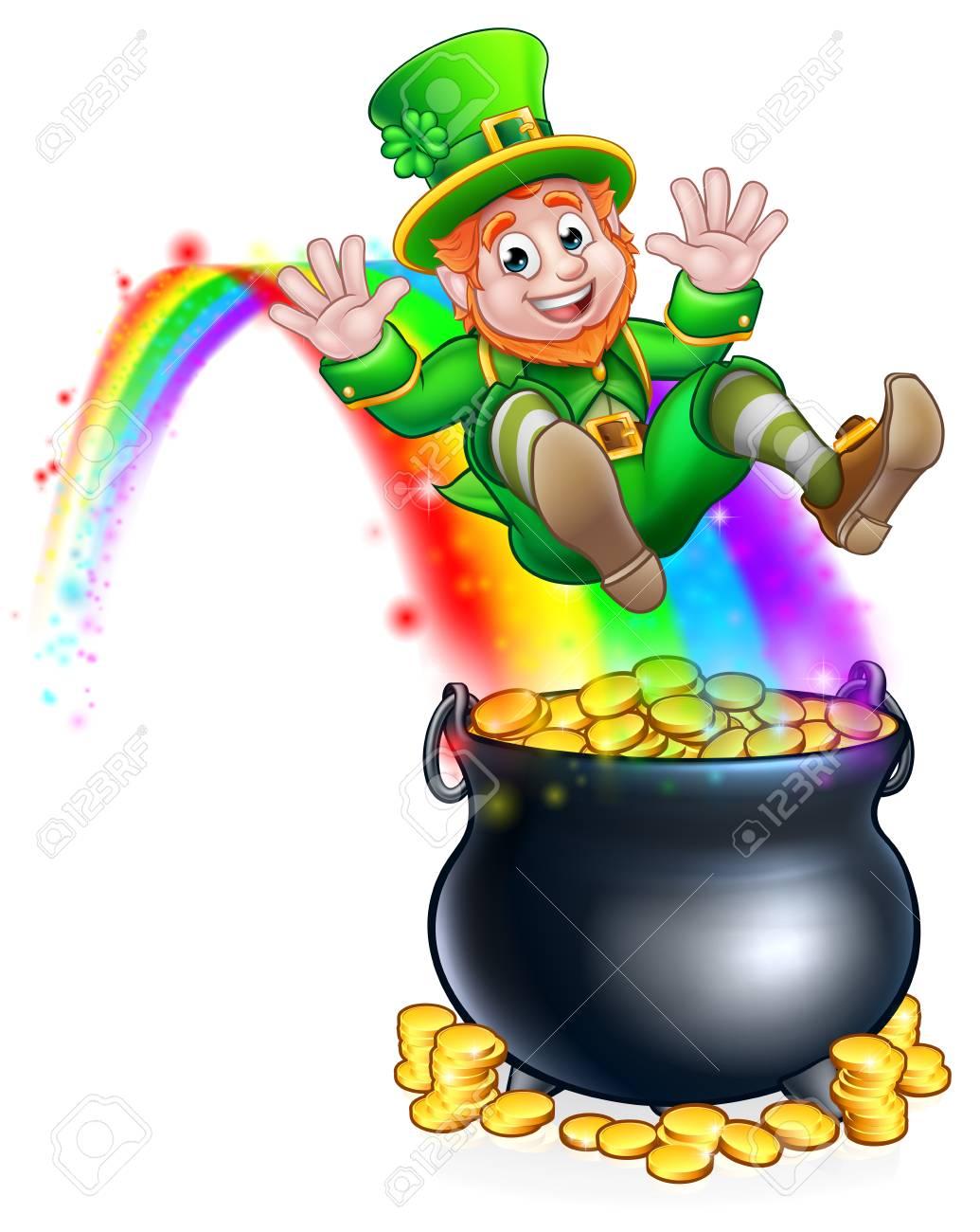 St Patrick's day leprechaun rainbow pot of gold..