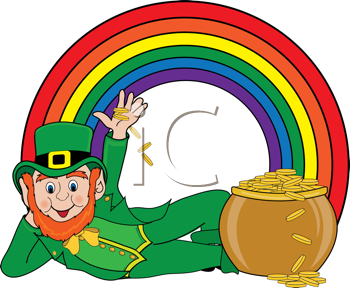Royalty Free Clipart Image of a Leprechaun at the Bottom of.