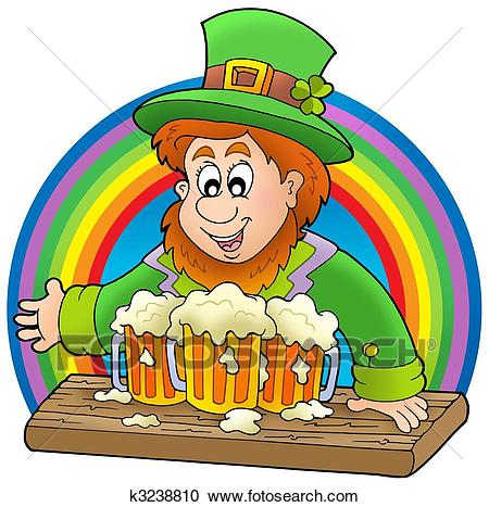 Leprechaun with beers and rainbow Clipart.