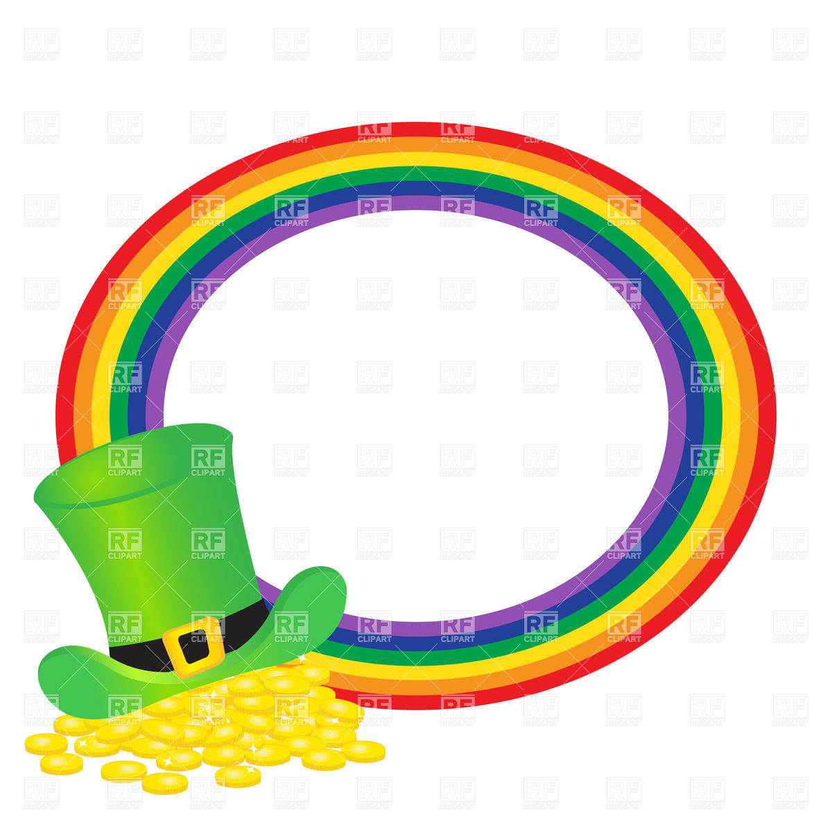 Hat of leprechauns gold and round rainbow Stock Vector Image.