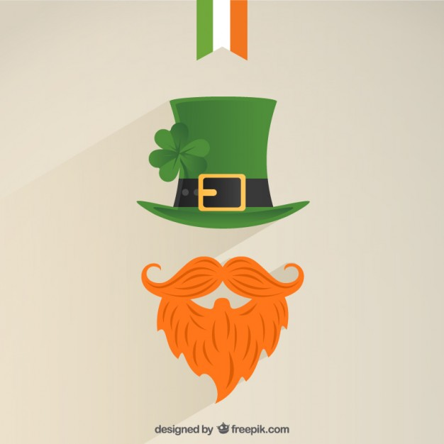 Leprechaun Icon with a Green Hat and Bushy Red Beard Free Vector.