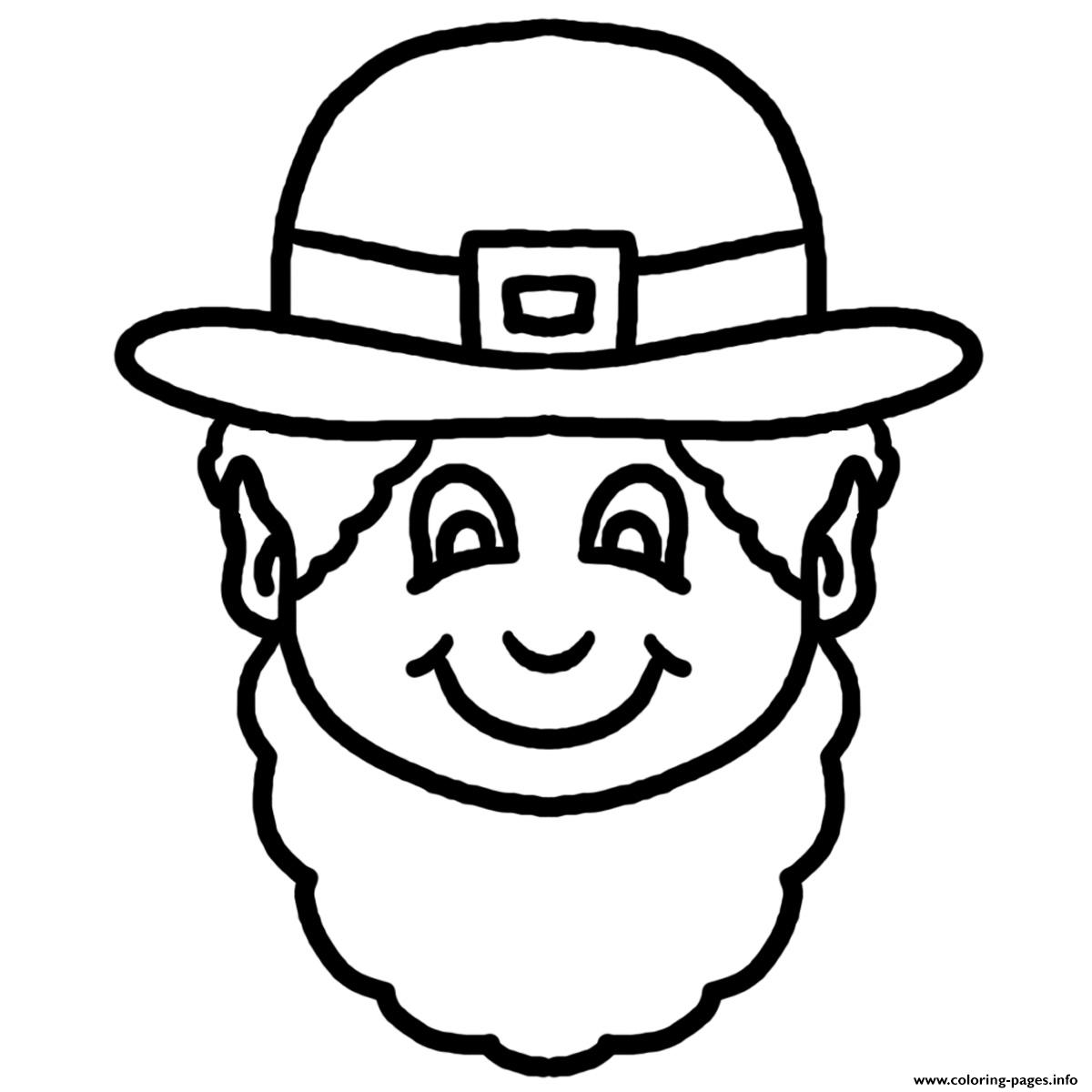 This Black And White Cartoon Leprechaun Face Clipart.