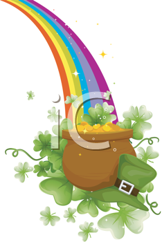 Royalty Free Clipart Image of a Pot of Gold at the End of.