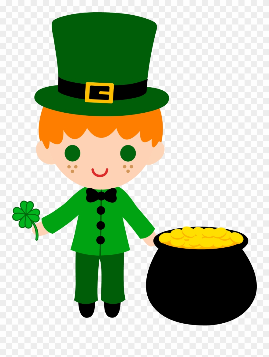 Leprechaun Boy With Pot Of Gold.