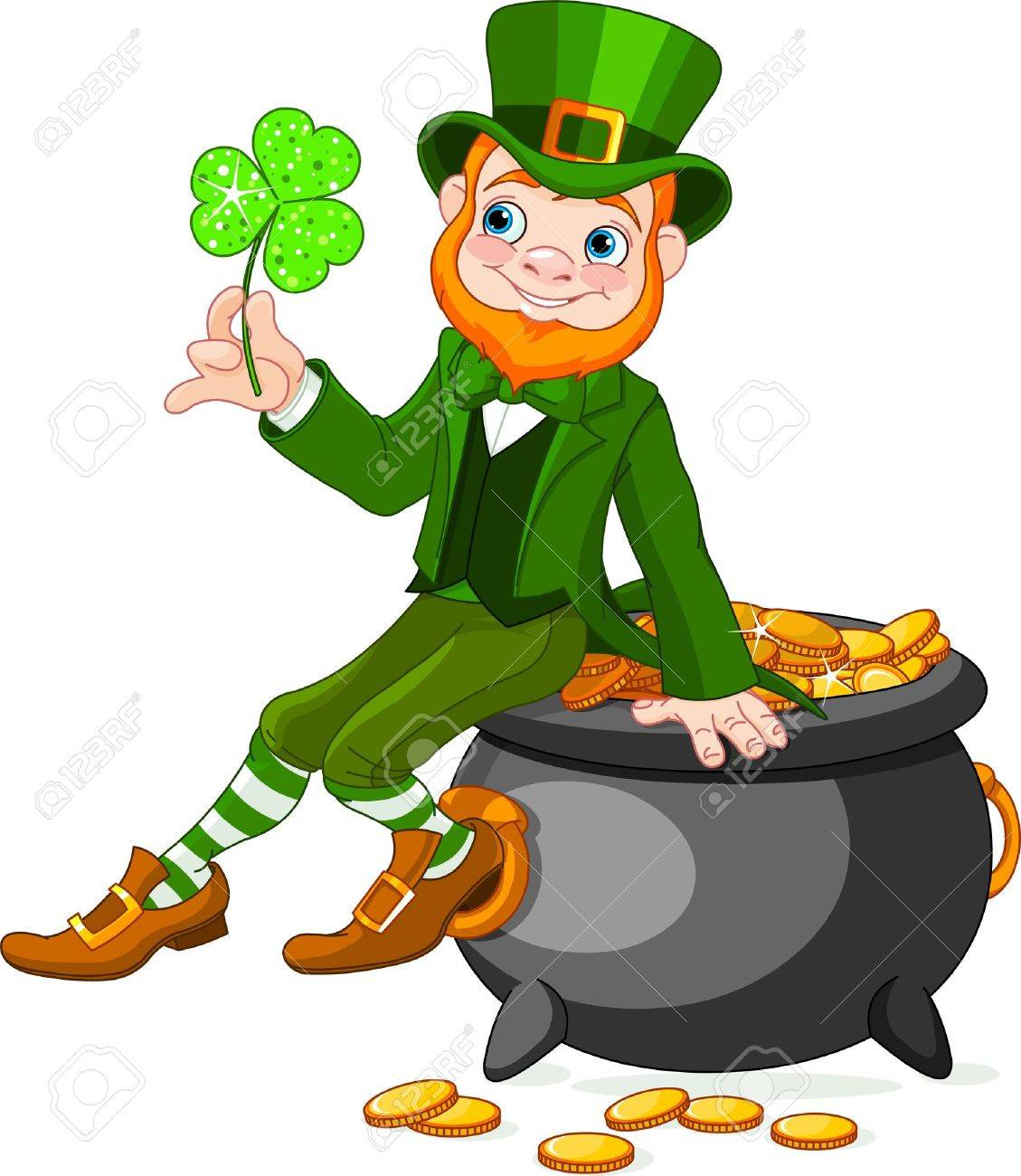 Cute cartoon Leprechaun sitting on pot of gold.