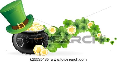 Leprechaun hat and pot of gold Clipart.