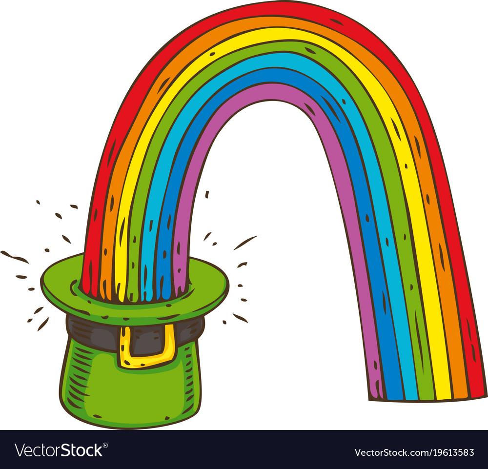 Patrick day leprechaun hat with rainbow.