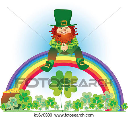 Leprechaun on rainbow Clipart.