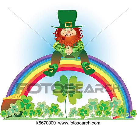 Leprechaun on rainbow Clipart.