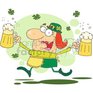 Happy Woman Leprechaun With Two Pints of Beer Skipping clipart.  Royalty.