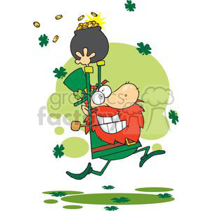 Whacky Lucky Leprechaun running with a pot of gold clipart. Royalty.