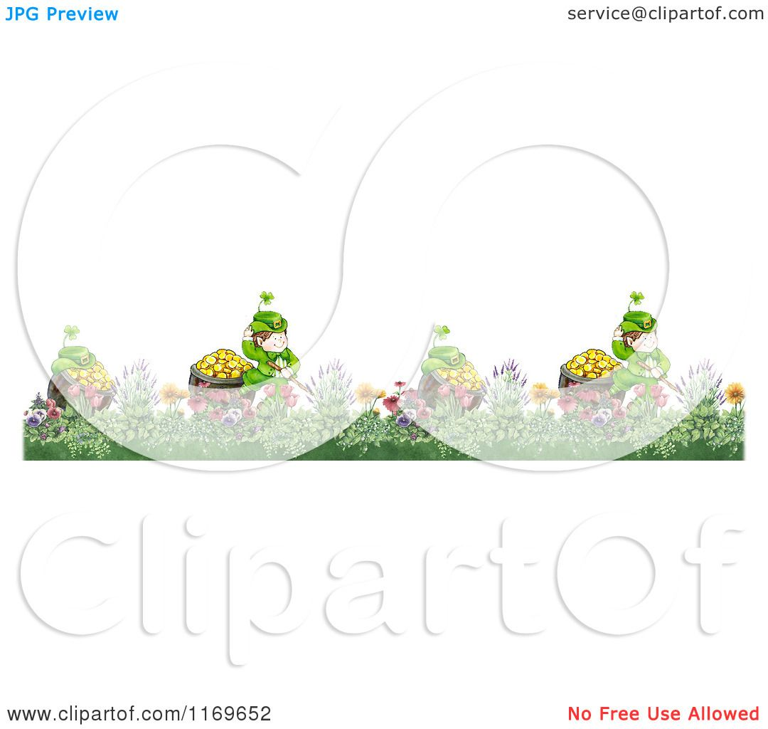 Clipart of a Border of Leprechauns and Pots of Gold in a Garden.