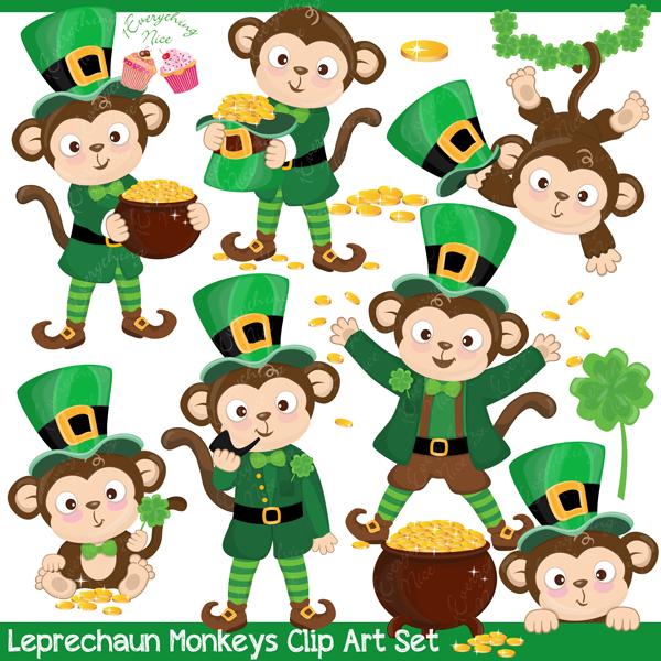 Leprechaun Monkeys Clipart Set.