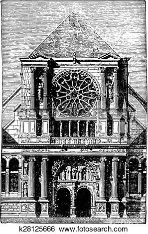 Clip Art of St. Clotilde Andelys portal, vintage engraving.