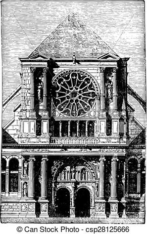 Clip Art Vector of St. Clotilde Andelys portal, vintage engraving.